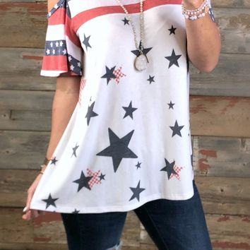 Patriotic Cold Shoulder Top