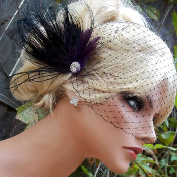 Black Dark Purple bridal hair fascinator and black french net bandeau bridal veil, , feather fascinator -ship ready OOAK