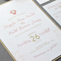 Beach Wedding Invitations, Destination Wedding Invitation Suite, Coral and Sand Wedding Pocket Invitation, Shell Wedding Invite Set Casual