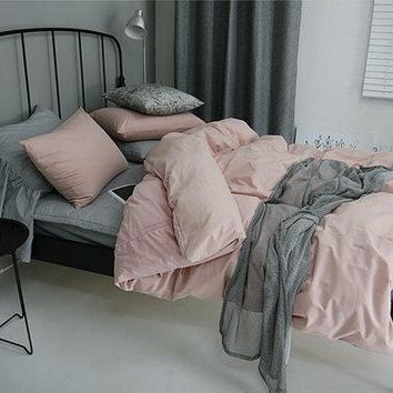Indie Pink / Off Pink Colored Soft Cotton Twin / Queen Size Bedding Set