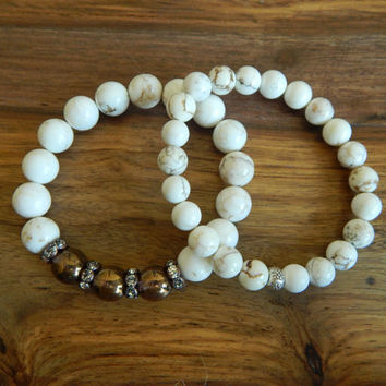 White magnesite bracelet, sterling silver bali bead, neutral, boho chic, stacking bracelet, layering, earthy, white bracelet