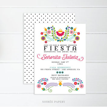 Fiesta Bridal Shower Invitation, Mexican Invitation, Fiesta Party, Cinco De Mayo, Birthday, Bridal Shower, Bride to Be | Julieta