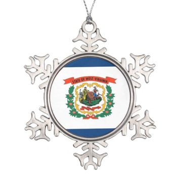 Snowflake Ornament with West Virginia Flag