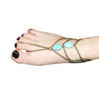 Fashion Ankle Foot Chain Link Toe Rings Hand Harness Turquoise Bracelet Slave