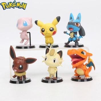 6pcs/set Pokemon Pikachu Eevee Chamander Meowth Mew PVC Action Figure for children best gifts Pokemon Toys