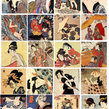 vintage japanese art men women geisha girls digital download collage sheet 2 inch squares graphics images craft printables