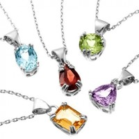 Set of Five Sterling Silver and Gemstone Pendant Necklaces