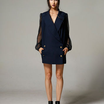 short dress,womens dresses,blazer dress,long sheer sleeve,short length,double breasted,minimalist,high fashion,unique,chic.--E0350