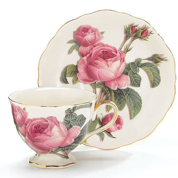 Romantic Rose Porcelain Tea Cup (Teacup) And Saucer