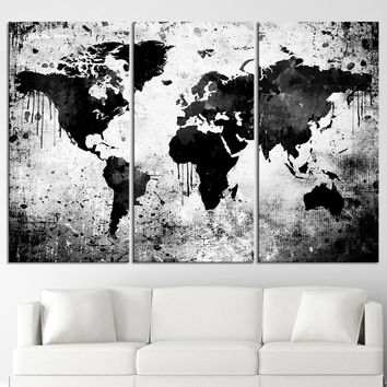 Best white world map wall art products on wanelo black white world map canvas print contemporary 3 panel tripty gumiabroncs Choice Image