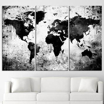 Black White World Map Canvas Print - Contemporary 3 Panel Triptych Gray Abstract Extra Large Wall Art - MC111
