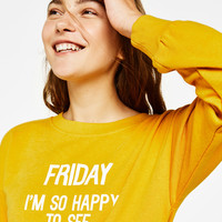 Sweatshirt with slogan and side slits - Sweatshirts & Hoodies - Bershka United States