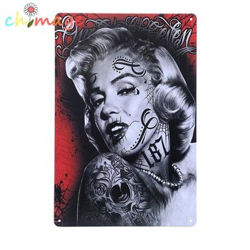Rock tattoo blonde Vintage Tin Sign Bar pub home store Wall Decor Retro Metal Art Poster
