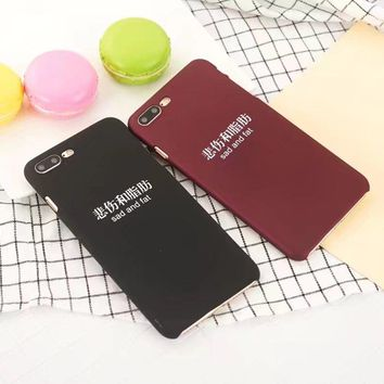 Funny Sad and Fat Letter Phone Case For iPhone 7 8 Couple Cases For iPhone 6 6s Hard Back covers shell For iPhone 6s/6/7/8 Plus