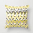 Aztec Tribal Yellow Gray iKat Inspired Pattern Design  Throw Pillow by TRM Design