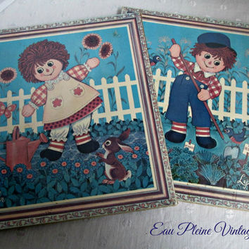 Soroka Litho Raggedy Ann Andy Cork Board Wall Art Pictures Decor Two NOS