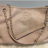 TORY BURCH Thea Tote Bag BLUSH NATURAL TAN Leather Chain Handles Purse Handbag