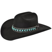 Katydid Faux Turquoise Cross Studded Black Leather Hat Band - Sheplers