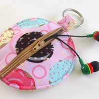 Donut Circle Earbud Holder Pouch / Sprinkles Donuts Coin Purse