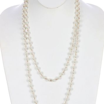 Beige Extra Long Pearl Necklace