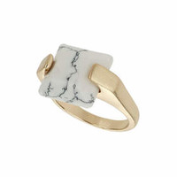 Semi Precious Set Ring - White