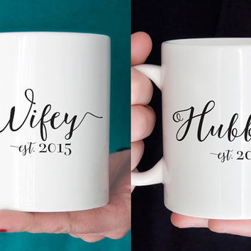 Wifey & Hubby Mug Set - Personalized Wedding Date Double Sided 11 oz Ceramic Mugs - Couple's Gift - Bride Groom - Choose Your Colors