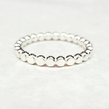 Bead Stacking Band Sterling silver Ring