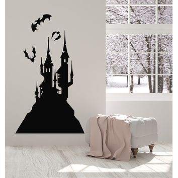 Vinyl Wall Decal Castle Fairy Tale Flying Bats Child Room Art Decor Stickers Mural (g890)