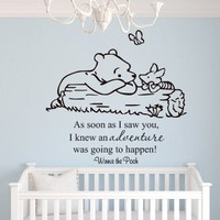 Winnie the Pooh Wall Decal As Soon As I Saw You, I Knew an Adventure Was Going to Happen Quote Vinyl...