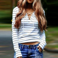 White Striped Drawstring V-neck Long Sleeve Slim T-Shirt