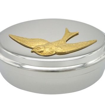 Gold Toned Swallow Bird Pendant Oval Trinket Jewelry Box