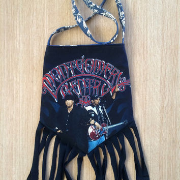 MONTGOMERY GENTRY - Upcycled Rock T-Shirt Fringe Purse - ooaK
