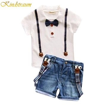 Summer Boys Clothing Set T Shirt  Denim Shorts Trench Kid Twin sets Children Clothing Suits Baby Clothes