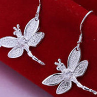 3D Dragonfly Silver Engraving Earrings