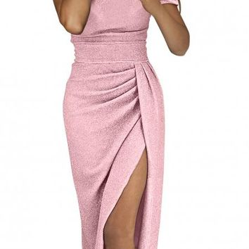 Pink Off Shoulder Short Sleeve Metallic Party Dress