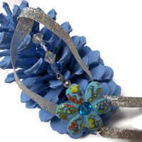 Blue Pine Cone Christmas Ornament Handmade With Beaded Flower Strand Spiritual Ornaments