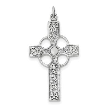 Sterling Silver Rhodium-plated Polished Celtic Cross Pendant QC8198