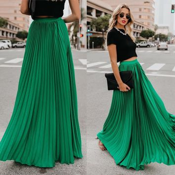 Plus-Size Solid High Waist Pleated Skirt Elastic Waist Maxi Long Bohemian Skirts