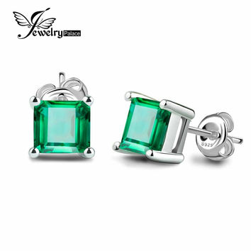 Brand  Fashion 0.6ct Green Nano Russian Emerald Earrings Stud Women Classic Square Cut Solid 925 Sterling Silver Jewelry Gift