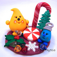 Christmas Trimmings Parker StoryBook Scene - Twelve Days of Christmas Polymer Clay Character Sculpted Figurine