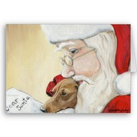 """Dachshund Request for Santa"" Art Christmas Card from Zazzle.com"