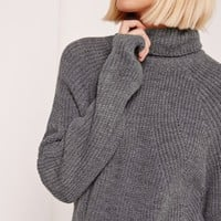 Missguided - Detail Roll Neck Mini Grey