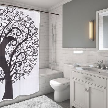 "unique TREE OF LIFE Fabric Black & White Shower Curtain 72"" X 70"" Home Decor"