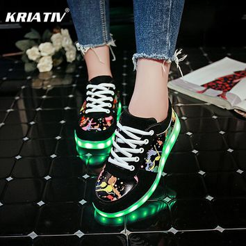 Led Usb Kids Light up shoes Led girl shoes infant tenis simulation Slippers do with Lights Up Luminous Sneakers