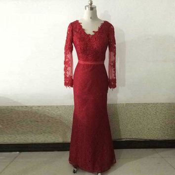 Beauty Burgundy Lace With Appliques V Neck Long Sleeves Evening Dresses Evening Gowns