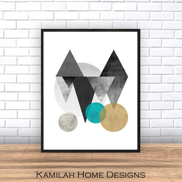 Scandinavian Print, Printable Art, Mid Century, Minimalist Art, Modern Wall Art, Wall Decor, Geometric poster large, Digital Download