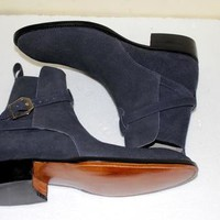 Handmade Men's Navy blue Suede jodhpurs boot, Mens Nevy blue ankle suede boot