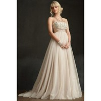 Empire Spaghetti Floor-Length Lace with Floral Trim Wedding Dress WEM04827