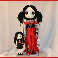 OOAK Hand Stitched Rag Doll Creepy Gothic Folk Art by TatteredRags