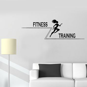 Wall Decal Fitness Training Beautiful Girl Sports Running Vinyl Sticker (ed1179)